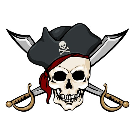 freebooter: Vector Single Cartoon Pirate Skull in Tricorn with Cross Swords on White Background Illustration