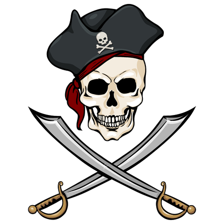 filibuster: Vector Single Cartoon Pirate Skull in Tricorn with Cross Swords on White Background Illustration
