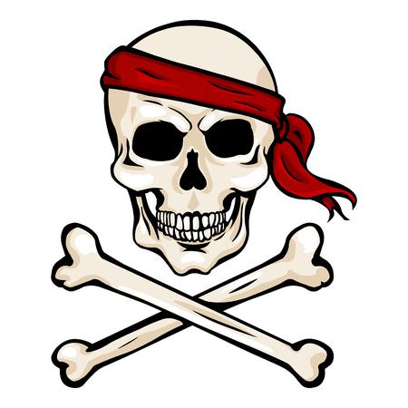 Vector Single Cartoon Pirate Skull in Red Headband with Cross Bones