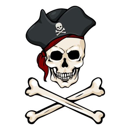 Vector Single Cartoon Pirate Skull in Tricorn with Cross Bones Illustration