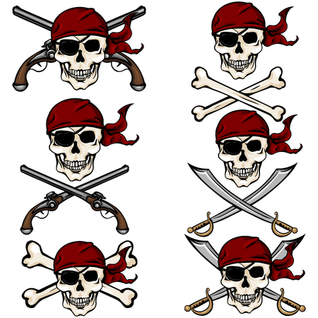 red bandana: Vector Set of Cartoon Pirate Skulls in Red Bandana on White Background Illustration