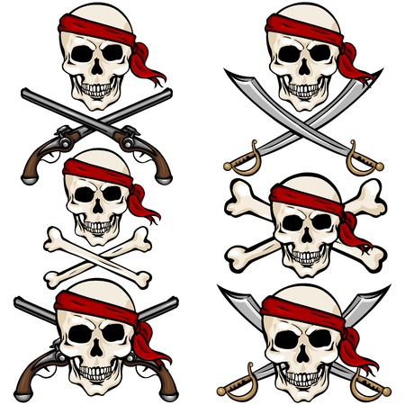Vector Set of Cartoon Pirate Skulls in Red Headband on White Background Ilustração