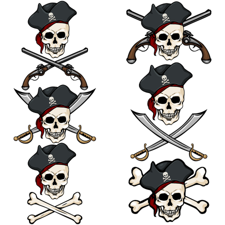 freebooter: Vector Set of Cartoon Pirate Skulls in Tricorn on White Background