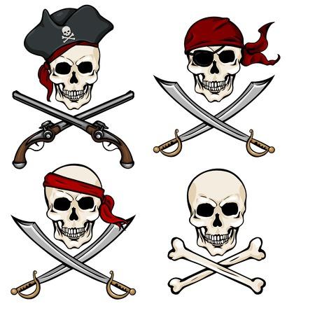 Vector Set of Different Cartoon Pirate Skulls on White Background Illustration
