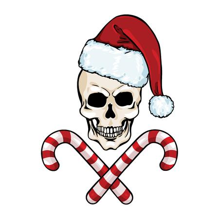 ベクトル文字 - クリスマスの頭蓋骨と交差したキャンディー ホワイト バック グラウンドに  イラスト・ベクター素材