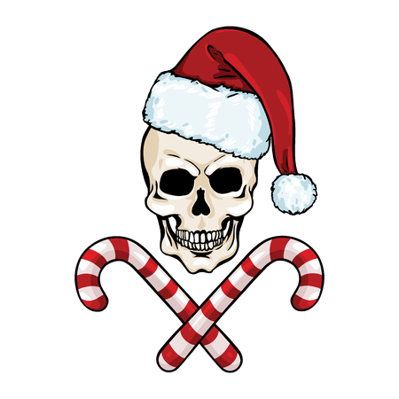skull character: vector character - Christmas skull and crossed candy canes on White Background