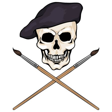 death cap: vector character - skull artist and crossed brushes on White Background