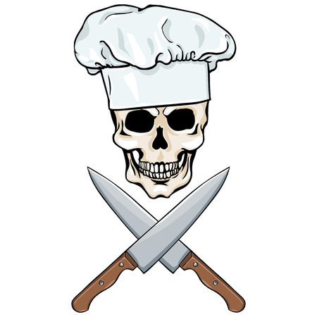 vector character - skull chef and crossed knifes on White Background