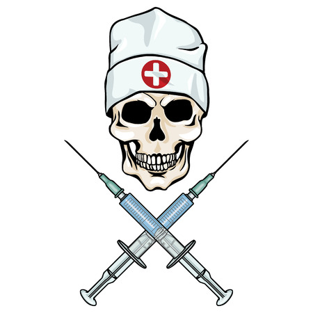 skull character: vector character - skull doctor and crossed syringes on White Background