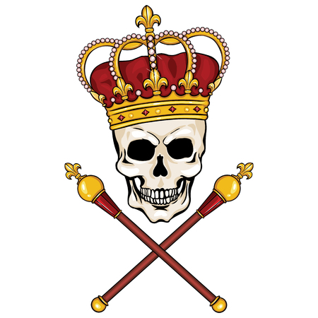 vector character - skull king and crossed royal scepters on White Background Illustration