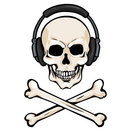 cross bones: Vector Cartoon Skull with Headphones and Cross Bones on White Background