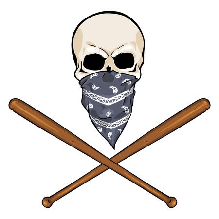skull character: vector character - skull vandal on White Background Illustration
