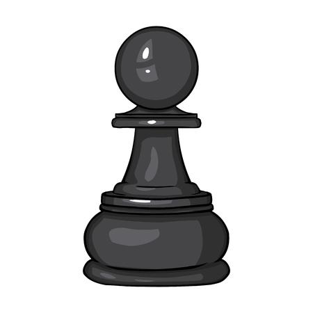 knack: Vector Single Cartoon Chess Figure - Pawn on White Background