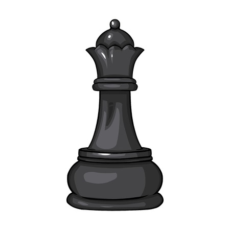 Vector Single Cartoon Chess Figure - Queen on White Background Illustration