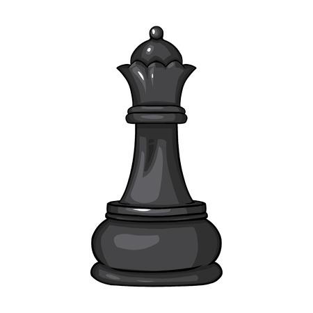 Vektor Einzelne Cartoon Schach Figur - Queen auf weißem Hintergrund Vektorgrafik