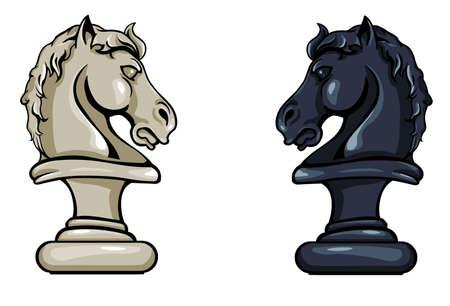 caballo de ajedrez: Vector Caballero del ajedrez - Variaciones en blanco y negro sobre fondo blanco Vectores