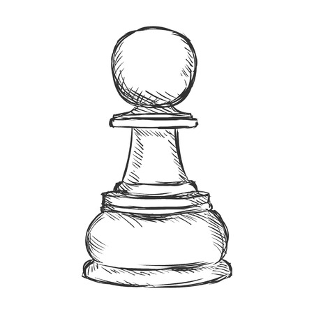 Vector Single Sketch Chess Figure - Pawn on White Background
