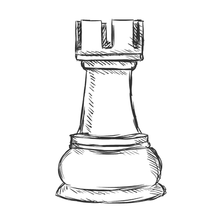 Vector Single Sketch Chess Figure - Rook on White Background