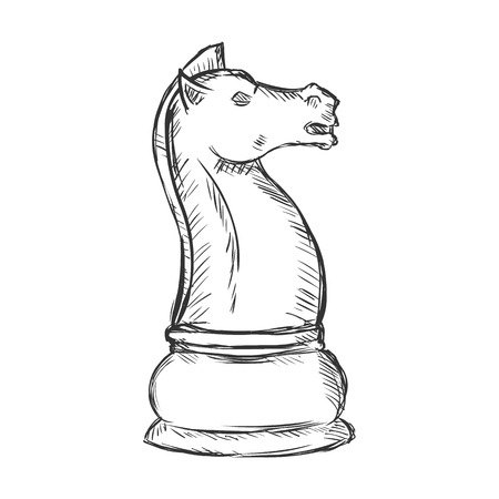 chessman: Vector Single Sketch Chess Figure - Knight on White Background Illustration