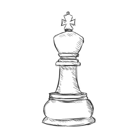 chessman: Vector Single Sketch Chess Figure - King on White Background