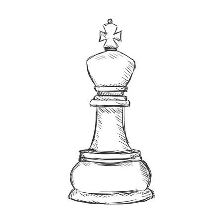 Vector singolo Sketch di scacchi Figure - re su sfondo bianco