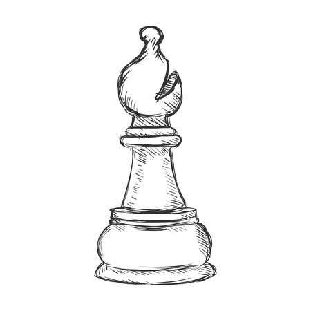Vector Single Sketch Chess Figure - Bishop on White Background