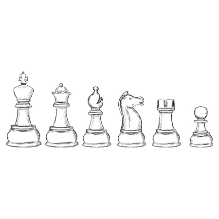 白い背景の上のスケッチ チェス図のベクトルを設定