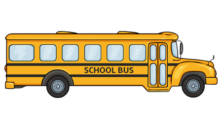 Vector Cartoon Yellow School Bus on White Background