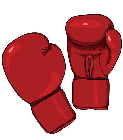 Guantes de boxeo rojos vector de la historieta en el fondo blanco