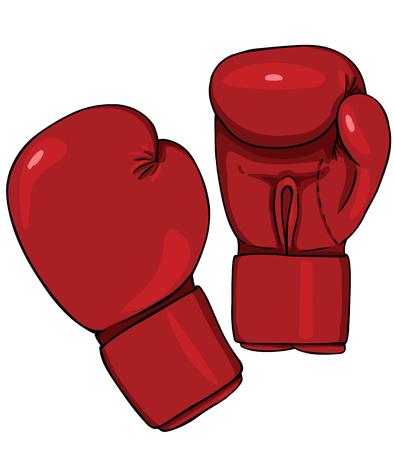 Vector Cartoon Red Boxing Gloves op een witte achtergrond