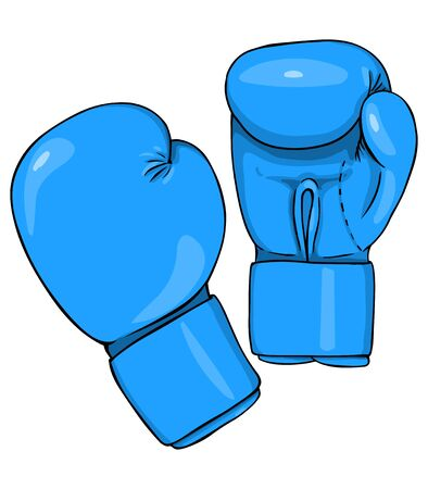 Vector Cartoon Blue Boxing Gloves on White Background