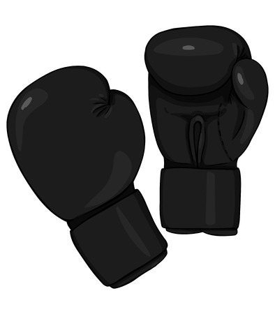 Vector Cartoon Black Boxing Gloves on White Background