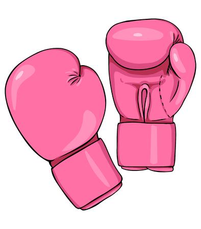 白の背景にベクトル漫画ピンクのボクシング グローブ
