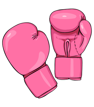 Vector Cartoon Pink Boxing Gloves on White Background