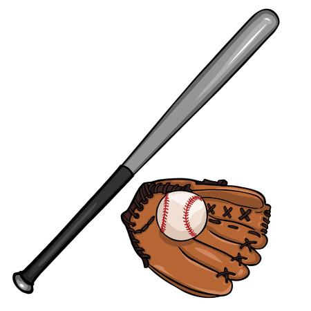 vector cartoon illustraition: baseball bat, ball and glove on White Background