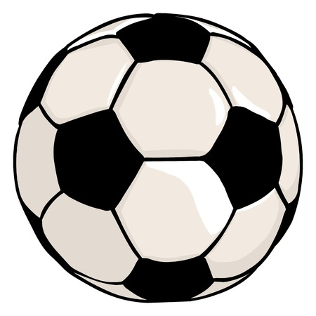 Vector Single Cartoon Soccer Ball on White Background Illustration