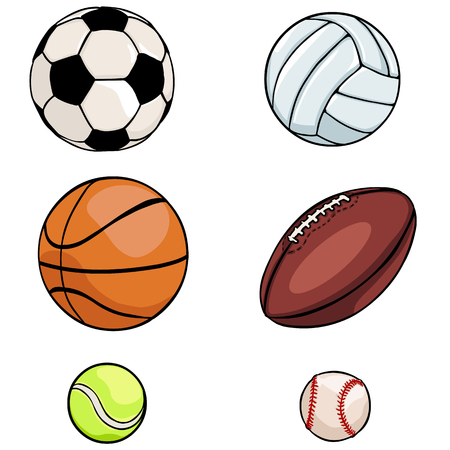 vector set of sports balls on White Background