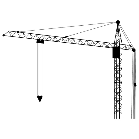 tower crane: Vector Silhouette Building Tower Crane on White Background