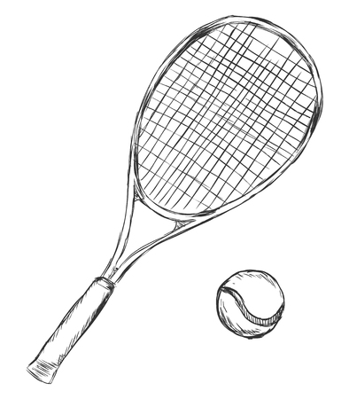 Vector Sketch Tennis Racket and Ball on White Background Illustration