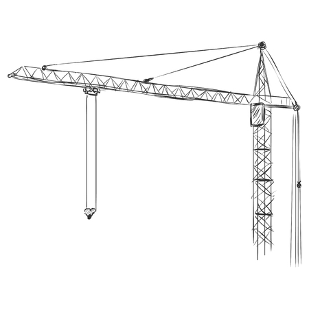 building sketch: Vector Sketch Building Tower Crane on White Background