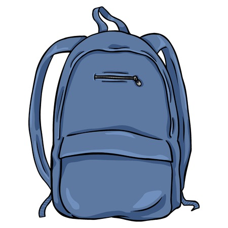 Vector Single Cartoon Backpack on White Background