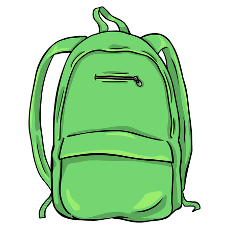 sand trap: Vector Single Cartoon Backpack on White Background