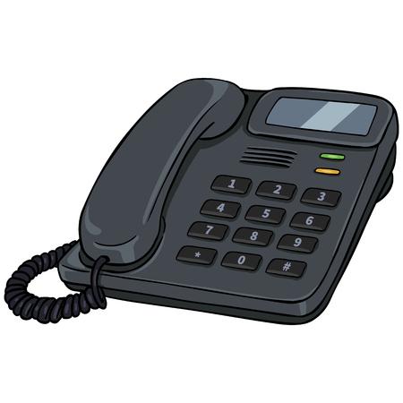 touchtone: Vector Cartoon Office Phone on White Background Illustration
