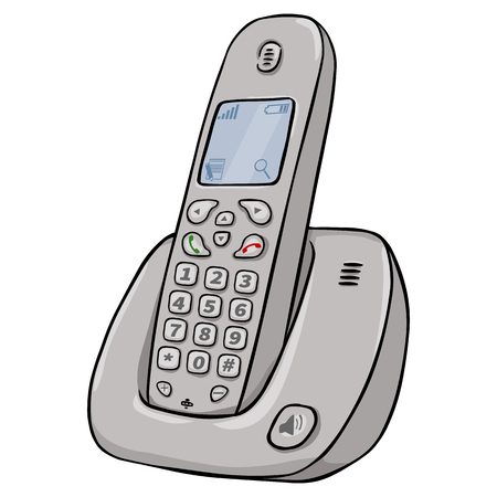 cordless phone: Vector Cartoon Cordless Phone on White Background