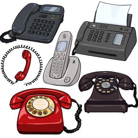 Vector Set of Cartoon Téléphones sur fond blanc Vecteurs