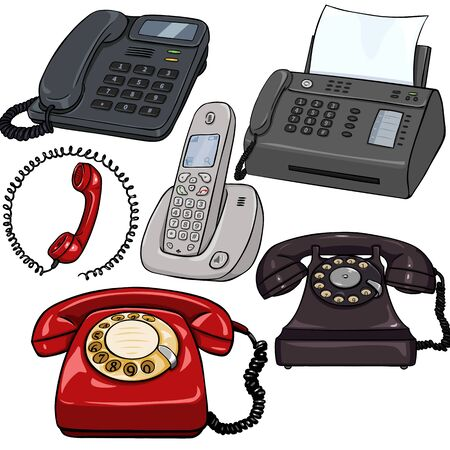 Vector Set of Cartoon Telephones on White Background Illustration