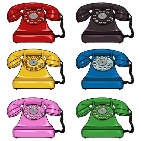 Vector Set of Color Retro Rotary Phones on White Background Illustration