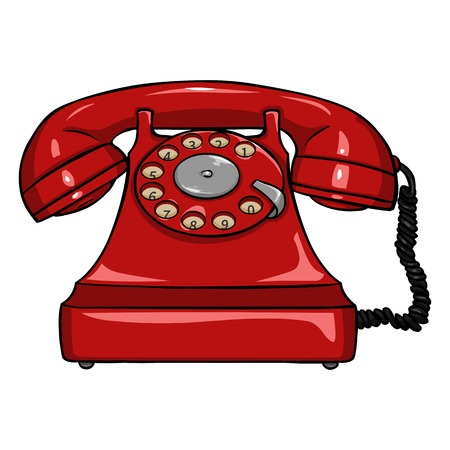 single object: Vector Single Cartoon Retro Rotary Telephone on White Background Illustration