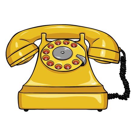 old fashioned rotary phone: Vector Single Cartoon Retro Rotary Telephone on White Background Illustration