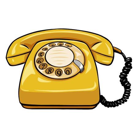 Vector Single Cartoon Retro Rotary Telephone on White Background Illustration